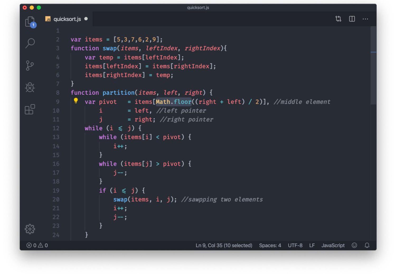 Un fragmento de un algoritmo Quicksort.