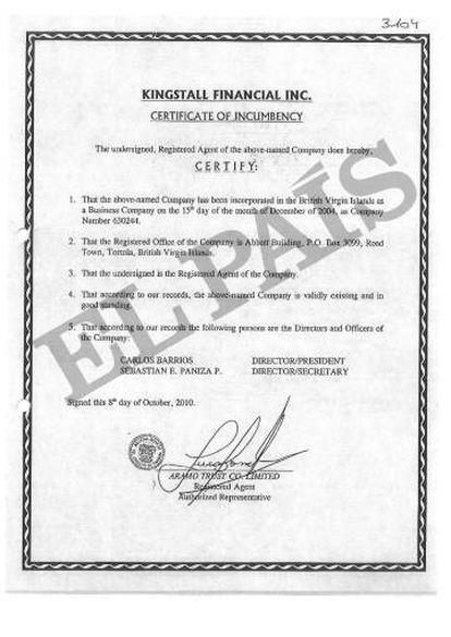 Certificado en las Islas Vírgenes de la sociedad Kingstall Financial Inc que investiga la policía por sus vínculos con Colombia.