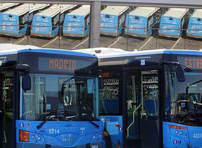 Algunos de los 210 autobuses nuevos de gasoil presentados por por Gallardón.