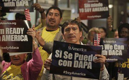 Activistas a favor de la reforma de Obama, el martes en Houston.