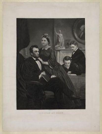 La familia Lincoln en un retrato propiedad de la Biblioteca del Congreso de EE UU