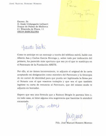 Carta enviada a Urdangarín instándole a su renuncia.