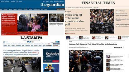 Imágenes de la actuación policial en distintas portadas de medios internacionales.