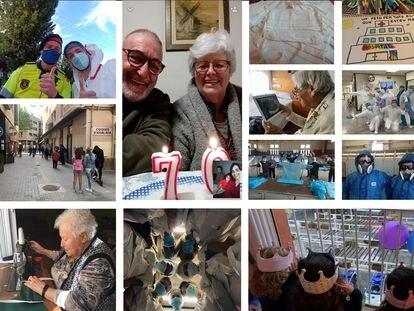 Montaje realizado a partir de algunas de las fotografías de la campaña #arxivemlacovid de l'Associació d'Arxivers-Gestors Documentals de Catalunya, (AAC) a partir de imágenes donadas a los archivos municipales de Salt y Reus, al fotográfico de la Universitat de Vic y al Arxiu Comarcal de l'Anoia.