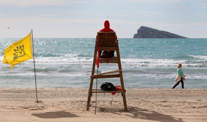 Un socorrista vigila la playa de Levante de Benidorm, el pasado 23 de enero.
