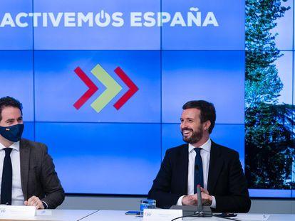 El secretario general del PP, Teodoro García Egea, y el líder del PP, Pablo Casado.