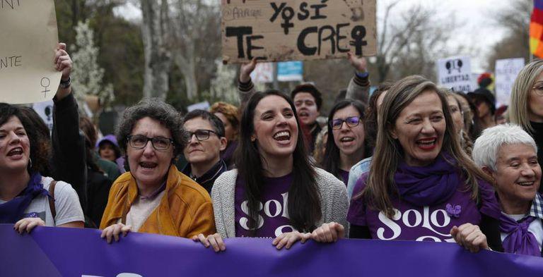Irene Montero en la manifestación del 8-M de 2020 en Madrid.