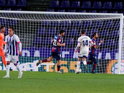 Morales celebra el 2-4 ante el Valladolid en Copa.