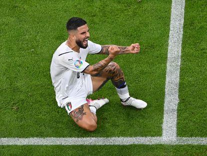 Lorenzo Insigne celebra su gol contra Bélgica en los cuartos de la Eurocopa.