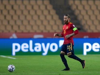Sergio Ramos, durante su último partido con la selección española.