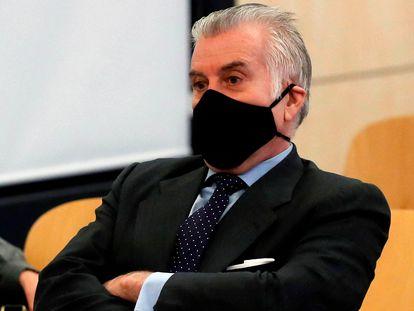 El extesorero del PP, Luis Bárcenas, en la primera sesión del juicio por la caja b del PP que se celebra desde el 8 de febrero en la Audiencia Nacional.