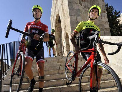 Basso y Contador, en Jerusalén.