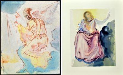 Una de las acuarelas originales que sirvieron a Dalí como trabajo preparatorio, a la izquierda y la ilustración dedicada al Cielo.