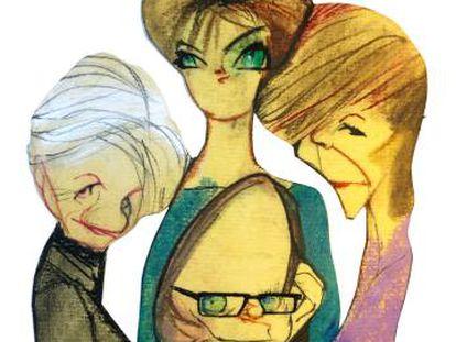 Desde la izquierda, Alice Munro, Lucia Berlin (arriba), Lydia Davis (abajo) y Edna O'Brien.