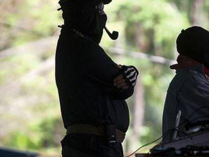 El subcomandante Marcos, fotografiado durante su intervención en Oventic.