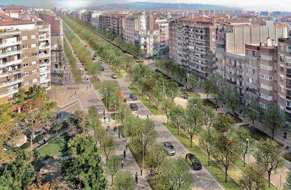 Imagen virtual de la futura reforma de la Meridiana de Barcelona, en el tramo entre Mallorca y Navas.