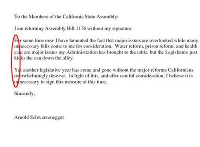 La carta del gobernador de California