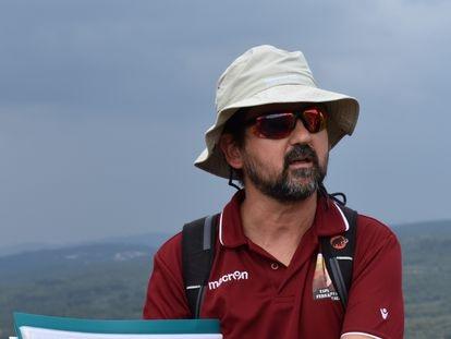 Matías Reolid, durante un trabajo geológico de campo.