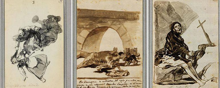 De izquierda a derecha, <i>Bajar riñendo</i>, <i>El aguacil Lampiños cosido dentro de un caballo muerto</i> y <i>Arrepentimiento</i>, dibujos de Goya  de los que no se sabía nada  desde 1877.