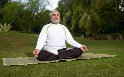 Narendra Modi, en una sesión de yoga.