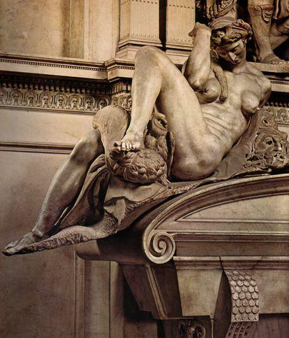 Representación de la noche en la tumba de Giuliano de Médici. Obra de Miguel Ángel.