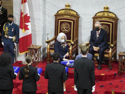 Mary Simon jura como gobernadora general de Canadá este 26 de julio, en Ottawa.