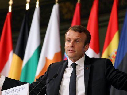 El presidente francés, Emmanuel Macron, durante su discurso del martes en La Sorbona.