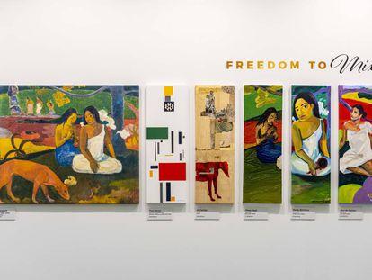 Cinco artistas (derecha) reinterpretaron el famoso 'Arearea' de Paul Gauguin. El resultado es una mezcla audaz, pero consistente de la pieza del francés; la prueba de que una mezcla personal es siempre el comienzo de una gran obra.