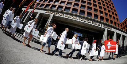 Una protesta frente a la sede de Sanidad, en 2015.