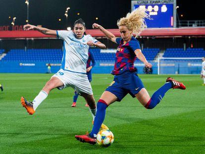 Hamraoui, ante Gaby en el Barcelona-Deportivo.