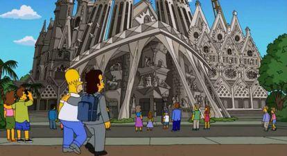 Homer Simpson y Eduardo Barcelona en la Sagrada Familia