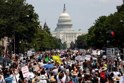 Aspecto de la manifestación en Washington DC.