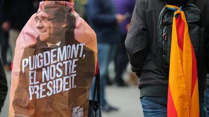 Manifestación este domingo en Barcelona contra la detención de Puigdemont.