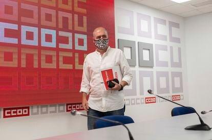 El secretario general de CCOO, Unai Sordo, este viernes durante una rueda de prensa en Madrid.