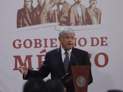 López Obrador, presidente de México, durante una conferencia.