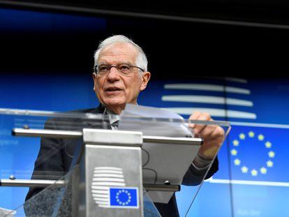 El Alto Representante de la UE, Josep Borrell, tras el consejo de ministros de Exteriores, en Bruselas, este lunes.
