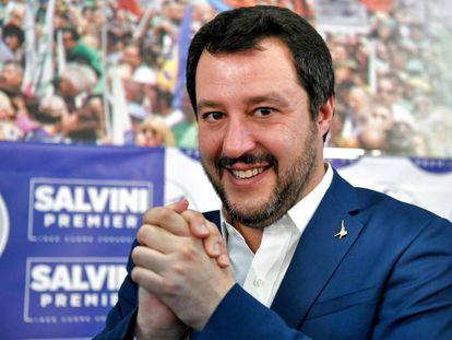El líder de la Liga Norte, Matteo Salvini, durante una rueda de prensa en Milán, el pasado 5 de febrero.