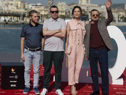 De izquierda a derecha, Emilio Palacios, Lino Escalera, Nathalie Poza y Juan Diego, en el Festival de Cine de Málaga.