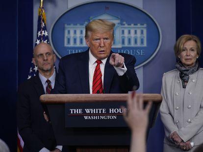 El presidente Trump, durante una conferencia de prensa en la Casa Blanca sobre el coronavirus.