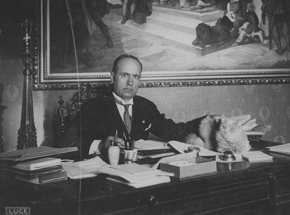 Mussolini, en su despacho con su gato, alrededor de 1925
