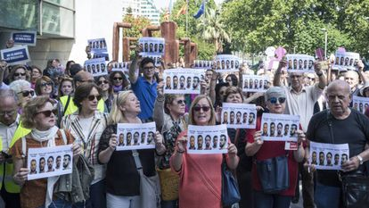 Concentración de protesta por la sentencia de La Manada, en Valencia.