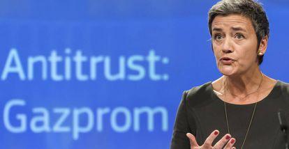 Margrethe Vestager explica la decisión sobre Gazprom en Bruselas.