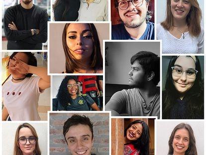 Fotomontaje de jóvenes de Argentina, Chile, Brasil, Perú, Colombia, México, Guatemala y Paraguay.