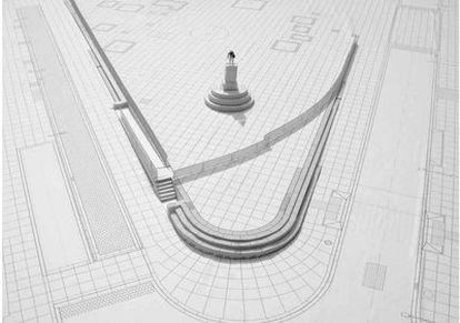 Recreación de la remodelación de la Plaza de las Cortes