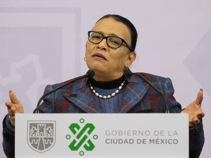Rosa Icela Rodríguez, en una rueda de prensa el año pasado.
