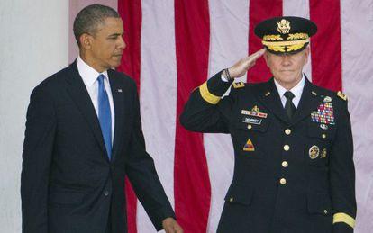 Obama y su jefe del Estado Mayor Conjunto, Martin Dempsey, en mayo