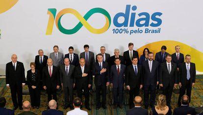 El Gabinete posa el jueves en Brasilia al cumplir sus primeros 100 días.