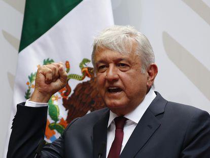 El presidente López Obrador durante su mensaje en Palacio Nacional.