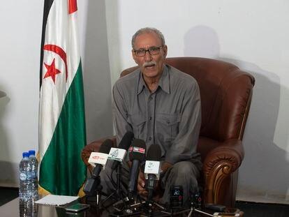 El líder del Frente Polisario y presidente de la República Árabe Saharaui Democrática (RASD), Brahim Gali, en una rueda de prensa en 2016.