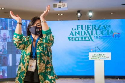 La presidenta del PP de Sevilla, Virginia Pérez, este sábado en el congreso provincial.